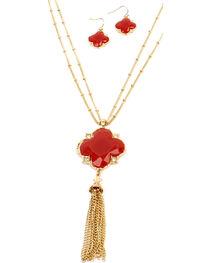 Ethel & Myrtle Red Clover Tassel Jewelry Set, , hi-res