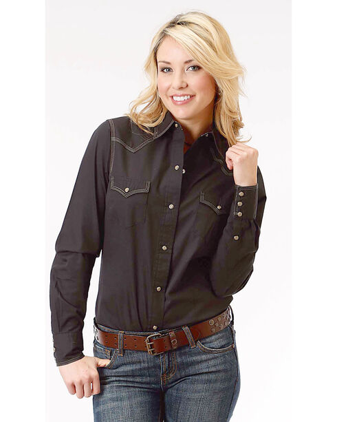 Roper Women's Black Long Sleeve Western Style Snap Shirt - Plus Size, Black, hi-res