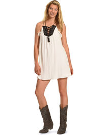 Polagram Women's Lace Up Tassel Dress , , hi-res
