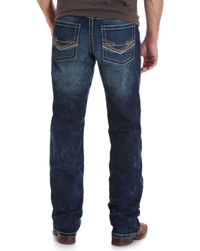 Wrangler Rock 47 Men's Blue Slim Fit Stretch Jeans - Boot Cut , Medium Blue, hi-res