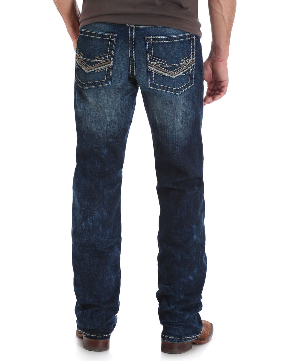 Wrangler Rock 47 Men's Blue Slim Fit Stretch Jeans - Boot Cut , , hi-res