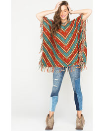 Ryan Michael Women's Serape Stripe Poncho, , hi-res