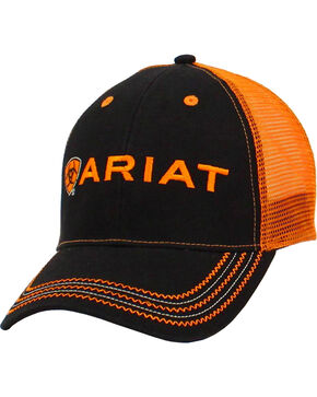 Ariat Men's Embroidered Logo Trucker Hat, Black, hi-res