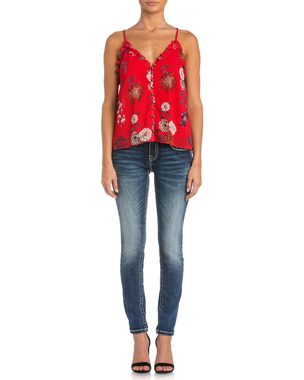 Miss Me Women's Hooked On You Cami, Red, hi-res