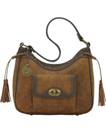 Bandana by American West Guns and Roses Collection Zip-Top Shoulder Bag, Tan, hi-res