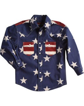 Rock & Roll Cowboy Boys' Stars and Stripes Print Snap Shirt, Red, hi-res