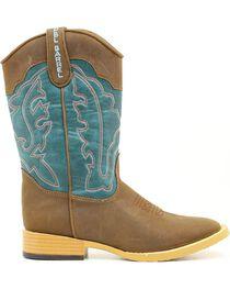 Double Barrel Youth Open Range Cowboy Boots - Square Toe, , hi-res