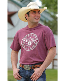 Cinch Men's Burgundy Screenprint Short Sleeve Tee, , hi-res
