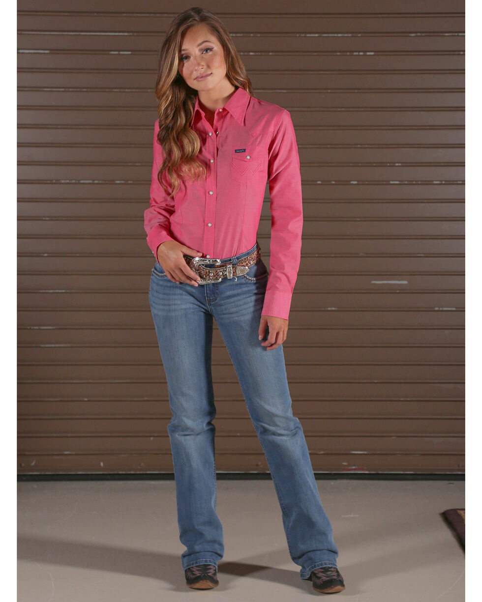 Wrangler Women's Pink Snap Up Top , Pink, hi-res