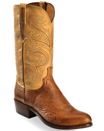 Lucchese Men's Light Brown Nathan Smooth Ostrich Boots - Round Toe , , hi-res