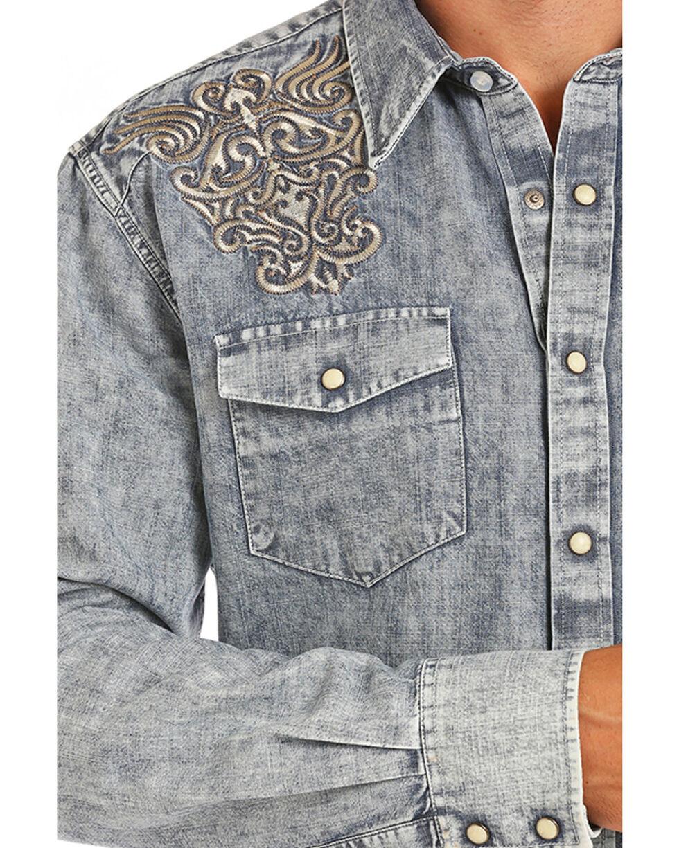 Rock & Roll Cowboy Men's Embroidered Light Wash Denim Shirt, Light Blue, hi-res