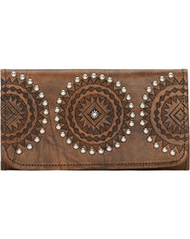 American West Women's Kachina Spirit Tri-Fold Wallet, , hi-res