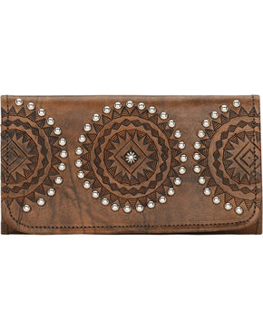 American West Women's Kachina Spirit Tri-Fold Wallet, Brown, hi-res