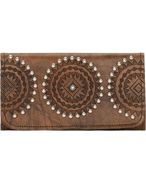 American West Women's Kachina Spirit Tri-Fold Wallet, Brown, hi-res