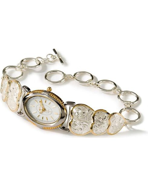 Montana Silversmith's Women's Triple Heart Watch, Two Tone, hi-res