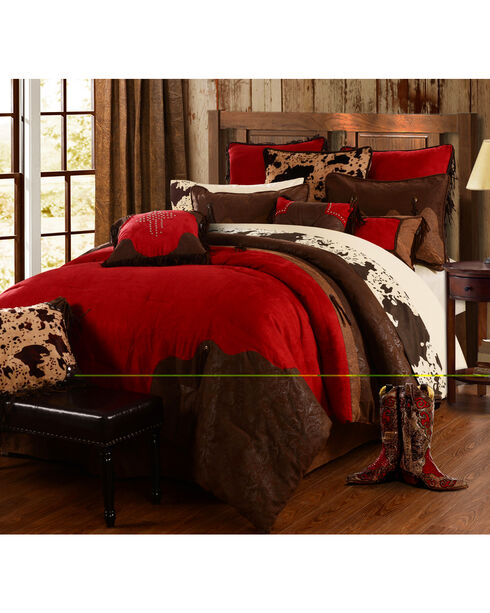 Red Rodeo Full Comforter Set, Red, hi-res