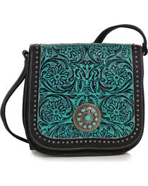 Trinity Ranch Women's Tooled Design Collection Messenger Bag, , hi-res