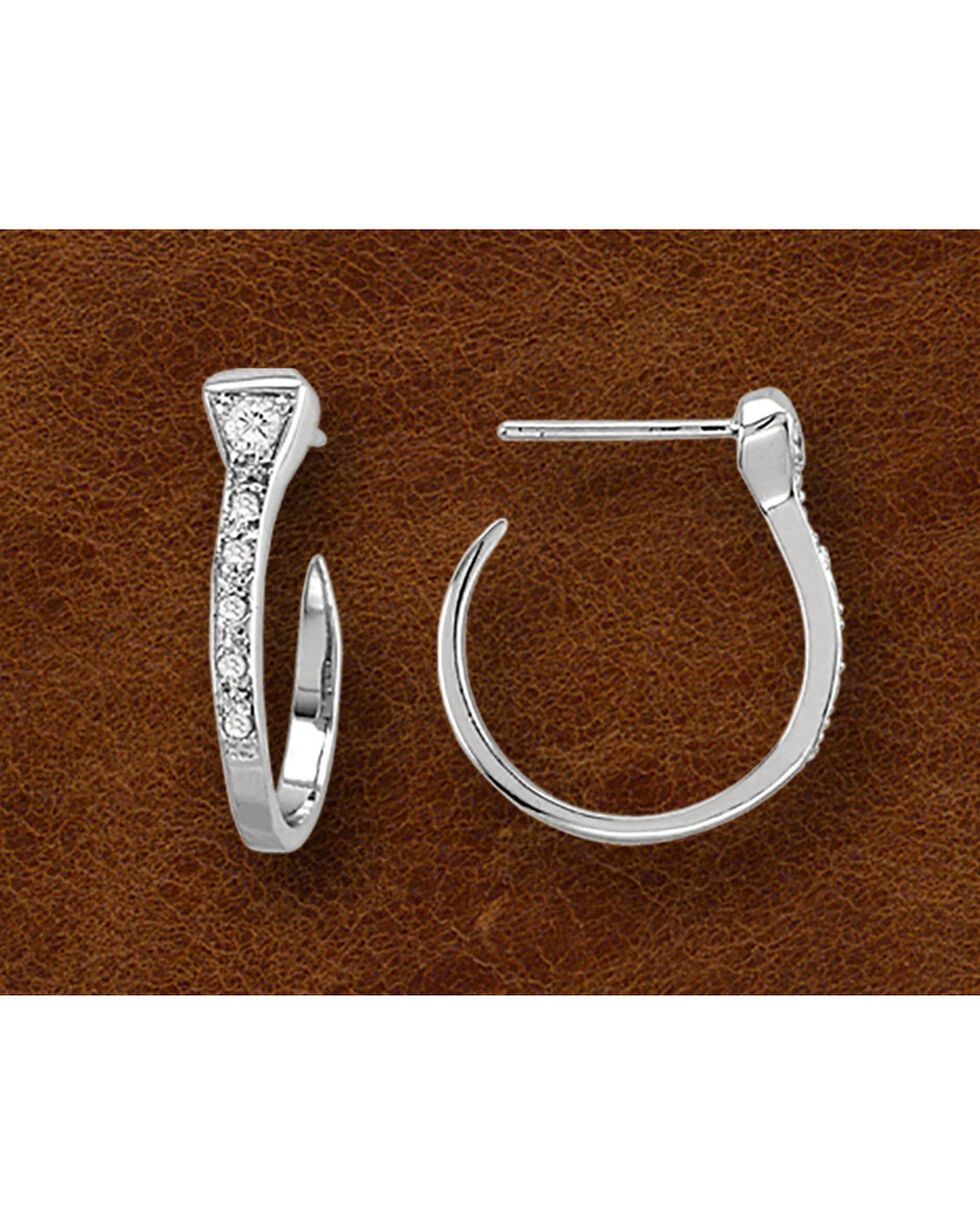 Kelly Herd Sterling Silver Rhinestone Horseshoe Hoop Earrings, Silver, hi-res