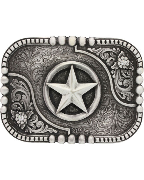 Montana Silversmiths Classic Impressions Lone Star Attitude Belt Buckle, Silver, hi-res