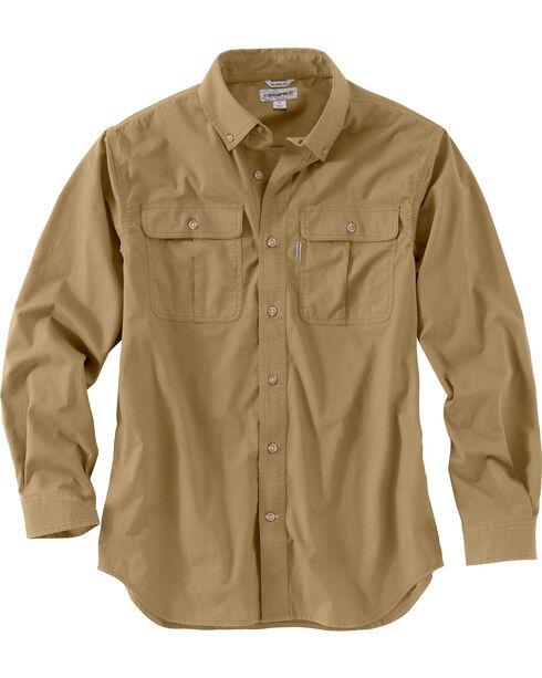 Carhartt Men's Foreman Stretch Long Sleeve Work Shirt, Beige, hi-res