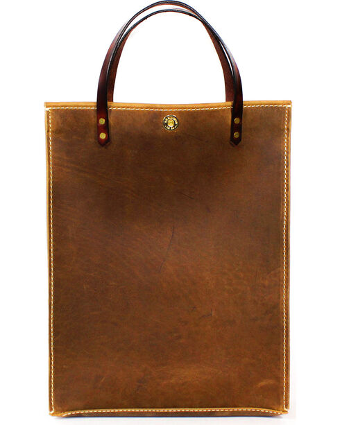 SouthLife Supply Aged Bourbon Leather Magazine Tote, Brown, hi-res