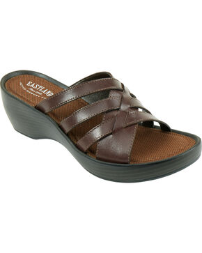 Eastland Women's Brown Poppy Wedge Sandals, Brown, hi-res