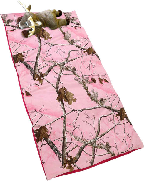 Carstens Home Realtree Pink Deer Pillow Slumber Bag, Camouflage, hi-res