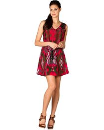 Miss Me Fuchsia Ikat Lace Back Dress, , hi-res