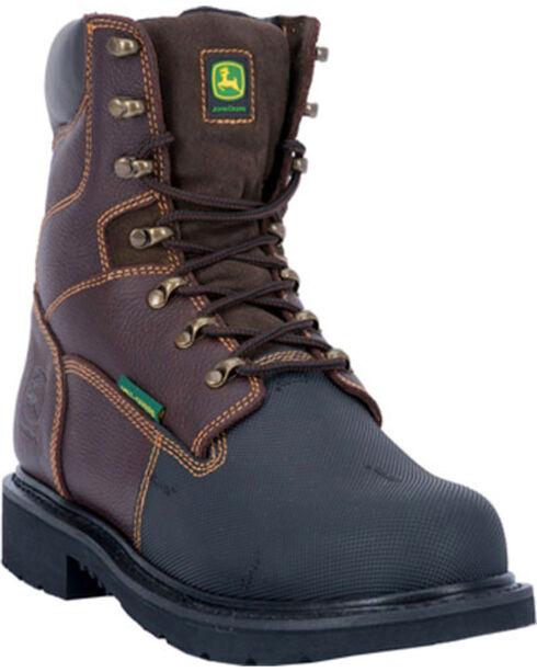 "John Deere Men's 8"" Fire Retardant Work Boot, Chocolate, hi-res"