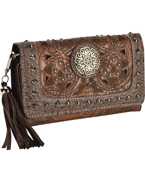 Savana Women's Floral Concho Studded Wallet, Brown, hi-res