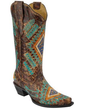 Corral Women's Diamond Snip Toe Western Boots, Cognac, hi-res