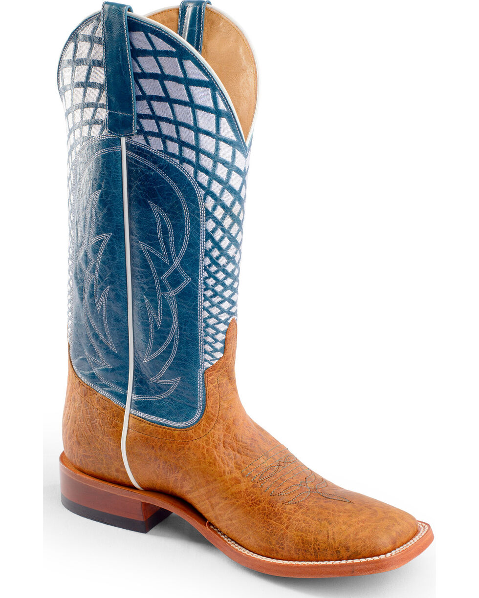 Horse Power Men's Embroidered Western Boots, Blue, hi-res