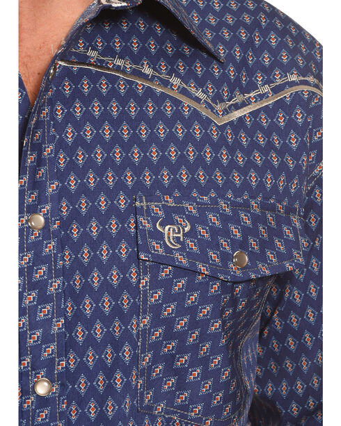 Cowboy Hardware Men's Navy Dashed Diamond Print Shirt , Navy, hi-res