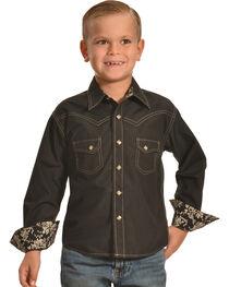 Crazy Cowboy Boys' Western Snap Shirt, , hi-res