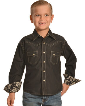 Crazy Cowboy Boys' Western Snap Shirt, Black, hi-res