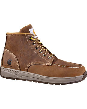 "Carhartt Men's 4"" Brown Lightweight Wedge Boots - Moc Toe, Chocolate, hi-res"