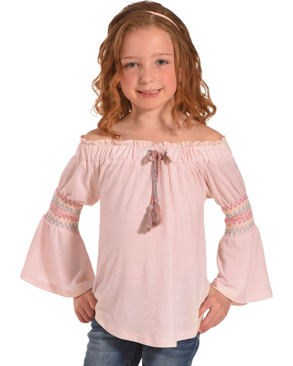 Derek Heart Girls' Pink Bell Sleeve Top, Light Pink, hi-res
