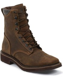 "Justin Men's Stampede 8"" Lace-Up Waterproof Work Boots, , hi-res"