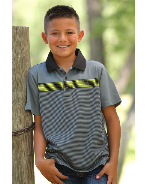 Cinch Boys' Striped Short Sleeve Polo, Grey, hi-res