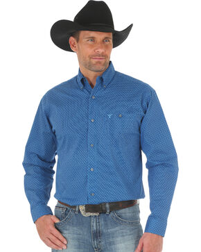 Wrangler 20X Men's Blue Advanced Comfort Competition Shirt, Blue, hi-res