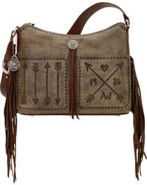 American West Women's Cross My Heart  Zip Top Shoulder Bag, , hi-res