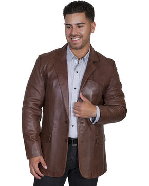 Scully Lamb Leather Blazer - Big, Chocolate, hi-res