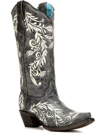 Corral Women's Contrast Side Embroidery Cowgirl Boots - Snip Toe , , hi-res