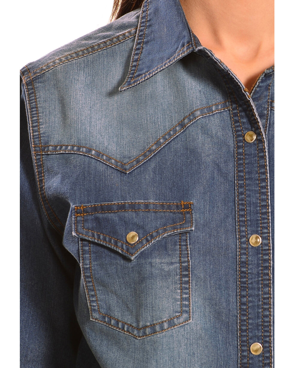 Wrangler Women's Premium Long Sleeve Denim Shirt, Denim, hi-res