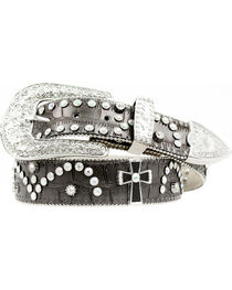 Nocona Cross Concho Studded Leather Belt, , hi-res