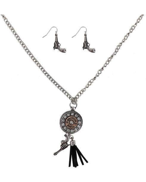 Shyanne® Women's Shotgun Shell Jewelry Set, Silver, hi-res