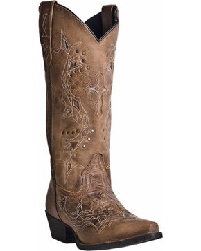 Laredo Women's Cross Point Western Boots, Brown, hi-res