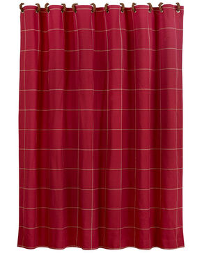 "Red window pane shower curtain with button detail, 72""x72"", Multi, hi-res"