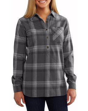 Carhartt Women's Grey Plaid Flannel Farwell Long Sleeve Shirt, Grey, hi-res