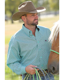 Cinch Men's Turquoise Dyed Button Long Sleeve Shirt , , hi-res